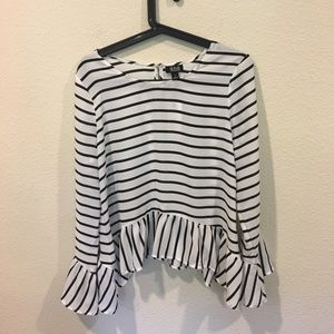 a.n.a Tops - A.N.A black and white stripe longsleeve blouse